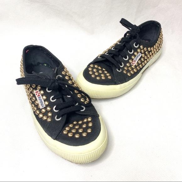 Superga Black Gold Studded Sneakers